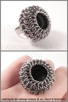 Glass stone + 100% handamde inox wire rings.  Chainmaille technique: Euro 4 in 1 and Euro 6 in 1.    Wrapped stone diameter: 2,8 cm (1'')  Ring size is adjustable.