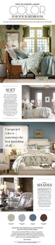 I like this color  Choose a Paint Color For Your Bedroom | Pottery Barn