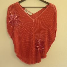 Your place to buy and sell all things handmade Silk Handkerchief, Disco Fashion, Burnt Orange, Ruffle Blouse, How To Wear, Vintage, Tops, Women, Disco Outfits