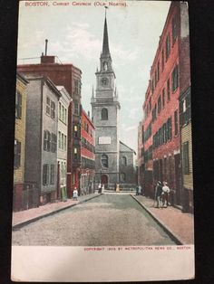 1905 Old North Church, Paul Revere's Ride, Christ Church of Boston, MA postcard