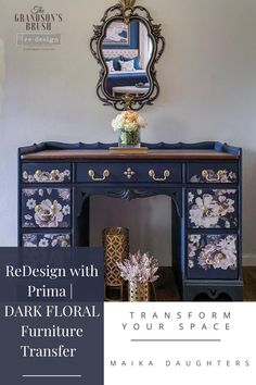 Easily transform your project into a professional-looking work-of-art. Rub on to your project. No water needed; no heat needed. Diy Furniture Flip, Floral Furniture, Refurbished Furniture, Repurposed Furniture, Furniture Projects, Vintage Furniture, Furniture Redo, Easy Diy Crafts, Home Crafts