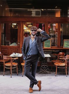 Sammy Dress Suit, Vono Italian Fair Shoes, Zara Denim Shirt, Meller Brand Sunglasses