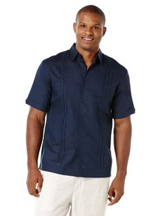 Linen Short Sleeve Pleated Panel Guayabera, Dress Blues, hi-res