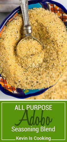 Adobo seasoning is easily made with 5 pantry staples like garlic powder oregano and turmeric. Think of this as the Latin all purpose seasoning salt! Seasoning Salt Recipe, Adobo Seasoning, Seasoning Mixes, Homemade Spices, Homemade Seasonings, Rub Recipes, Cooking Recipes, Cooking Tips, Recipes