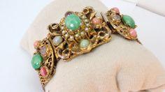 50s Goldtone Mesh Bracelet Green, Pink Lucite beads by LoukiesWorld on Etsy