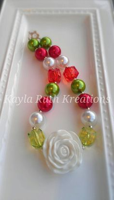 Christmas Necklace children's beaded by KaylasTuTuKreations, $15.00