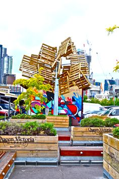 The Pallet Tree at Melbourne's Queen Victoria Market. #beautifullyupcycled #repurpose #artrecycled #upcycledesign