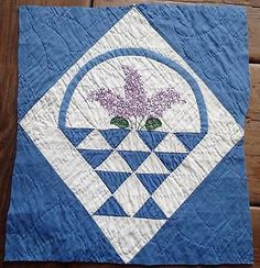 Vintage Applique Embroidered LILACS in a Basket Quilt Piece 16x14