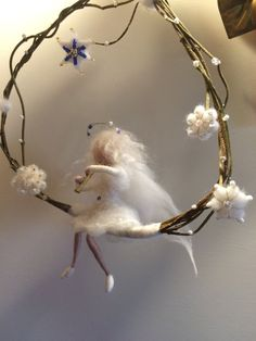 Needle felted Fairy, Waldorf inspired,  Wool Music Fairy with flute, White fairy, Swing, Mobile, Art Doll, Christmas, Home decor