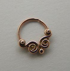 Scrolls (Gold) : Nose Ring .. Septum Jewlery .. 14k gold .. Aprilsblissed Nosebling .. Tribal Nose Adornment