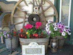 Rustic Farmhouse Galvanized Tub Planter
