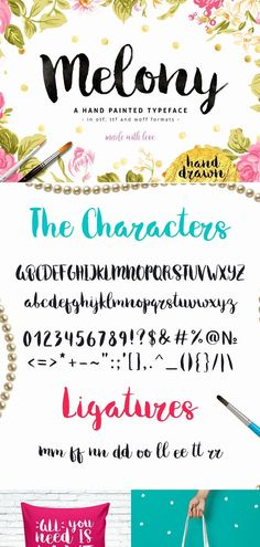 Melony is a pretty script font perfect for shirts, logo design, branding and Cricut projects. #scriptfont #branding #logodesign #fonts Handwritten Fonts, Calligraphy Fonts, Typography Fonts, Script Fonts, New Fonts, Hand Lettering, Brush Font, Graphic Design Projects, How To Draw Hands