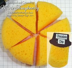 sponge tip - cut up and use label punched out of corresponding cardstock folded in half and stapled to identify the color.  You can cut the sponges into wedges of 4-8.   This means you can get up to 24 sponge wedges from only ONE PACKAGE!  Two packs will give you enough for all our colors!  A very economical way to sponge.