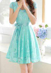 Scoop Neck Short Sleeves Solid Color Elegant Lace Dress For Women (BLUE,2XL) | Sammydress.com Mobile