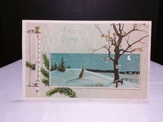 """1911 Post Card """"A Merry Christmas"""" Dated 12/1911 Stamp Outdoor Scene"""