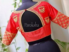 BEautiful red designer blouse with chandbali design hand embroidery thread work from Paroksha. 06 July 2017