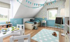 Kinderzimmer Junge mit Bett unter Dachschräge, Wandgestaltung mit Tapete & Wand… Nursery boy with bed under sloping roof, wall design with wallpaper & wall paint blue – ideas furnishings Detached house FLAIR 125 by Town & Country House – HausbauDirekt. Nursery Design, Wall Design, House Design, Wooden Bedroom, Bedroom Wall, Boy Room, Kids Room, Town Country Haus, Wallpaper Wall
