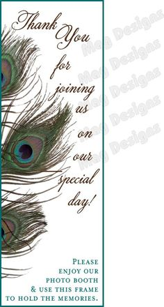 Photo Booth Frame Placecards Peacock for 2x6 by iDoArtsyWeddings,