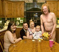 hmmm...awkward family portrait...maybe mom and dad are nudist? o.O