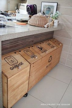 Woodworking Ideas Shed .Woodworking Ideas Shed Recycling Station, Recycling Bins, Kitchen Storage, Kitchen Decor, Home Organization, Home Projects, Home Kitchens, Home Furniture, Home Improvement