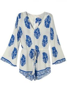 Shop White Floral Print Plunge Trumpet Sleeve Romper Playsuit from choies.com .Free shipping Worldwide.$14.99