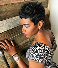 Pixie cut on black hair - we are beautiful, black & braided beautiful, Cute Short Haircuts, Cute Hairstyles For Short Hair, Pretty Hairstyles, Curly Hair Styles, Natural Hair Styles, Pixie Styles, Short Styles, Short Sassy Hair, Short Hair Cuts