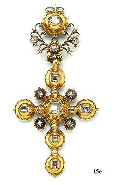 Victorian Table Cut Diamond, Silver And Gold Cross Pendant - Spanish  c. 18th Century