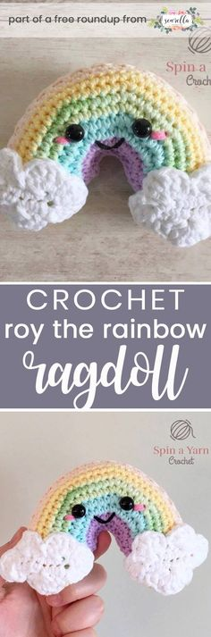 Get the free crochet pattern for this roy the rainbow amigurumi ragdoll toy rattle from Spin a Yarn Crochet featured in my gender neutral rainbow baby FREE pattern roundup!