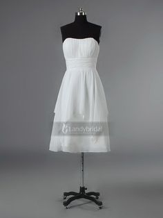Strapless Tea Length White Bridesmaid Dress Bblbnb2230