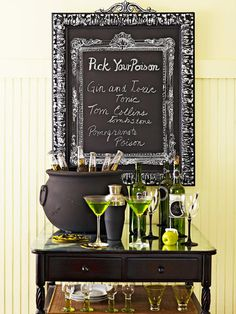 """Pick your Poison"" bar from the BHG Ghoulishly Gothic Halloween party theme."