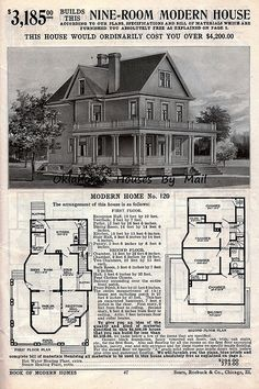 historic homes Sears 1908 Edition Victorian House Plans, Vintage House Plans, Victorian Homes, Vintage Homes, Sims House Plans, House Floor Plans, The Sims, Sims 4, Building Plans