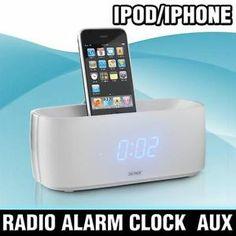 iPHONE iPOD SPEAKER DOCK ALARM CLOCK RADIO FM LCD WHITE *FREE P&P SPECIAL OFFER