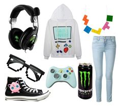 """""""Gamer Outfit"""" by justafangirl4ever ❤ liked on Polyvore featuring Converse, Frame Denim, Tatty Devine, women's clothing, women, female, woman, misses and juniors"""