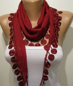 Burgundy and Elegance Shawl / Scarf with Lace Edge by SwedishShop, $13.90