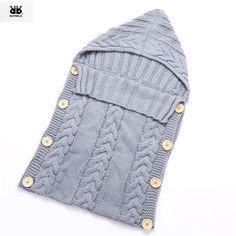 Sleeping Bag Baby Knit Crochet Newborn Footmuff saco de dormir bebe Winter Hooded Solid Soft Wool slaapzak gigoteuse pour dormir
