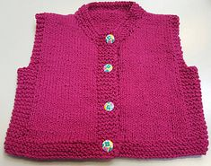 Too warm for a sweater, yet Baby needs a little something to keep out the chill? Why not a vest? Basic in styling, this vest lets the wonderful yarn do the design work. It's knit in one piece-the only finishing is at the shoulders and sewing on the buttons!
