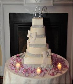 Unique, five-tier glamorous wedding cake with rhinestone and fondant bow details {Cakes for Occasions - Boston Cakes}