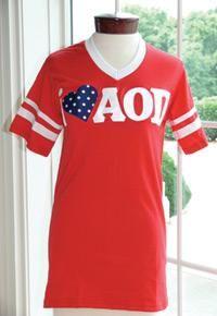 Red i heart AOII jersey.  #AlphaOmicronPi