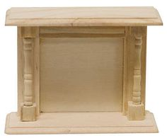 Dollhouse Miniature Unfinished Wood Fireplace Hearth