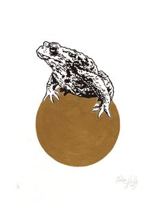 Melissa Halley Frog Prince 2018 Linocut, black & gold printing ink Plate size20 x15 cm Paper size 30 x 24 cm Edition of 20