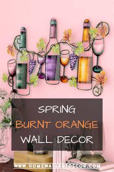 If you love wine and pretty burnt orange wall art then you will love this trendy burnt orange decorative accent. Wine Bottle Wall, Wine Wall Art, Glass Wall Art, Orange Wall Art, Orange Walls, Floral Wall Art, Flower Wall Decor, Canvas Wall Decor, Wall Art Decor