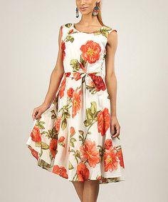 Look what I found on #zulily! Peach Vintage Rose Tie-Waist A-Line Dress #zulilyfinds