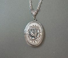 Winter Rose-- Gothic Lolita Oval Locket: Silver Rose Locket--Mother's Day Gift on Etsy, $25.00