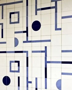 blue and white mixed pattern square tiles