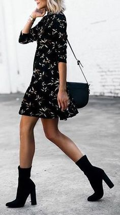 summer outfits Black Printed Dress + Black Booties