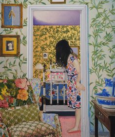 Naomi Okubo, Japan. Between a room and a room of the wall paper of the leaf pattern, 2011. Acrylic,Oil,cotton and panel.