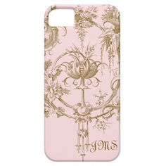 Classic Pink and Brown Toile Pattern iPhone 5 Cases
