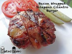 Salted Paleo | Bacon Wrapped Jalapeño Cilantro Burgers #paleo #primal #scd #bacon