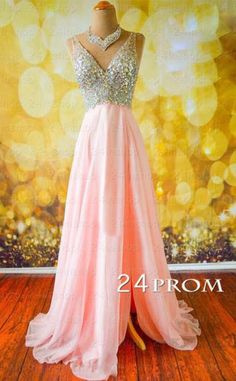 Pink V neckline Chiffon Long Prom Dresses, Evening Dress - 24prom