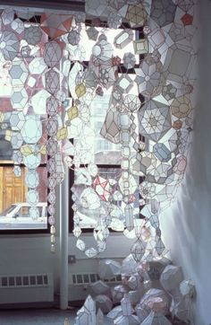 jewel installation by Kirsten Hassenfeld. On Apartment Therapy via The Jealous Curator. So delicate and pretty! Instalation Art, Mixed Media Sculpture, Ideias Diy, Make Art, Art Plastique, My New Room, Design Inspiration, Prints, Paper Sculptures